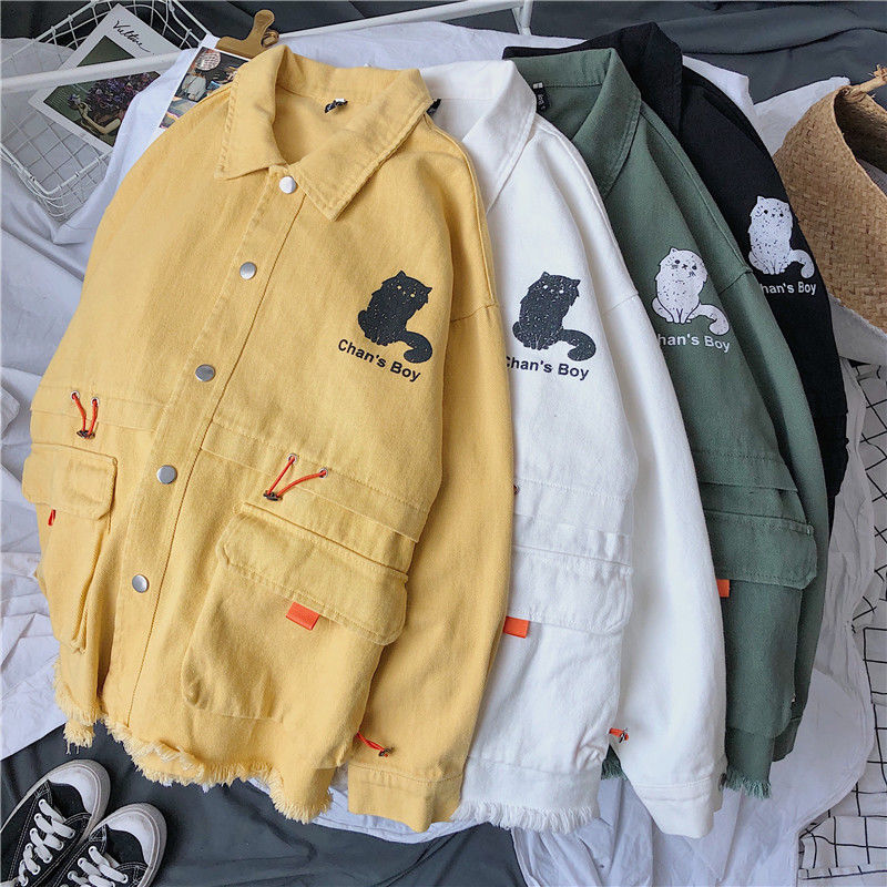 2020 spring new Korean loose ins jacket male students cute cartoon large size coat tide yellow Best Free shipping On Sale