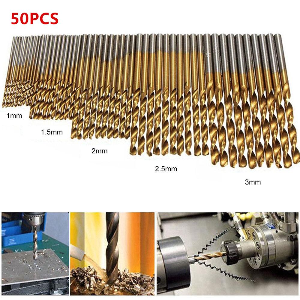 50pcs 1-3mm Titanium Coated Twist Drill Bits HSS High Speed Steel Drill Bits For Woodworking