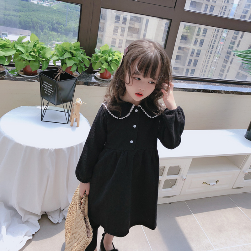 1-6 Years Doll Collar Long Sleeve Black Dress for Girl Children Costume Gift School Wear Kids Party Dresses Holiday Clothes 1