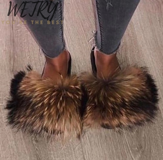 IN 2020  Brand Luxury Fur Slippers Women Real Fox Fur Slides Home Furry Flat Sandals Female Cute Fluffy House Shoes Woman