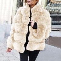Women Plus Size Short Faux Coat Warm Furry Faux Long Sleeve Outerwear Stand Collar Faux Fur Jacket Fur gilet fourrure 9.25LY