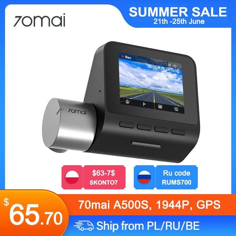 70mai-Cámara de salpicadero Pro Plus+, Monitor de aparcamiento 24H, 1944P, Control por aplicación, GPS integrado, coordenadas de velocidad, ADAS, DVR, A500S