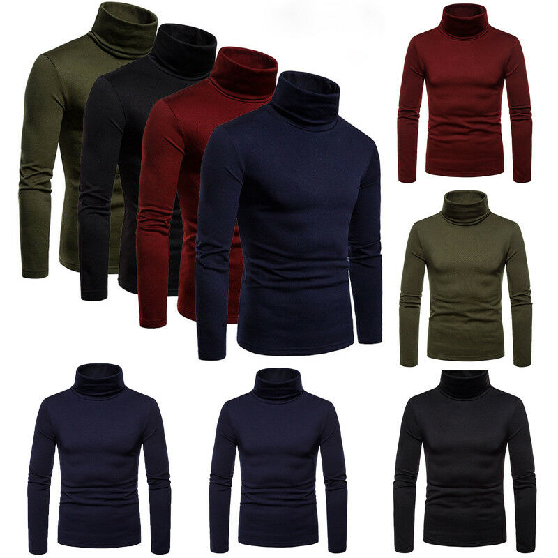 Hot Winter Warm Mens Cotton Turtle Neck Turtleneck Long Sleeve Solid Sweater Stretch Jumper M L XL 2XL Costume Clothing