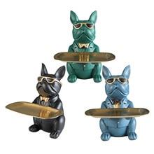 Cool Hond Beeldje Bulldog Shape Tray Coin Bank Woondecoratie Ornament Hars