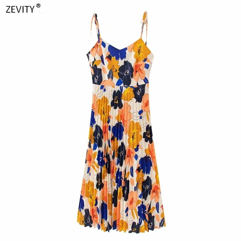 New 2020 Women holiday flower print pleated sling Dress Female spaghetti strap Vestidos Chic casual summer slip Dresses DS3736