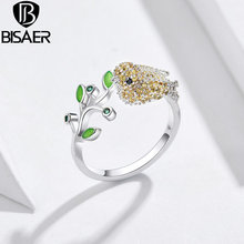 BISAER Silver Color Statement Wedding Band Ring Canary Greenery Bird Ring For Women Wedding
