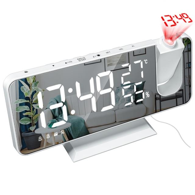 LED Digital Alarm Clock Watch Table Electronic Desktop Clocks USB Wake Up FM Radio Projector Bedroom Snooze Function 2 Alarm 3