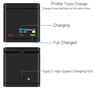 Image 3 - Probty 3 חריצים רב פונקציה סוללה מטען טעינה אחסון מקרה טעינת תיבת 2 ב 1 עבור GoPro גיבור 8 7 6 5 שחור