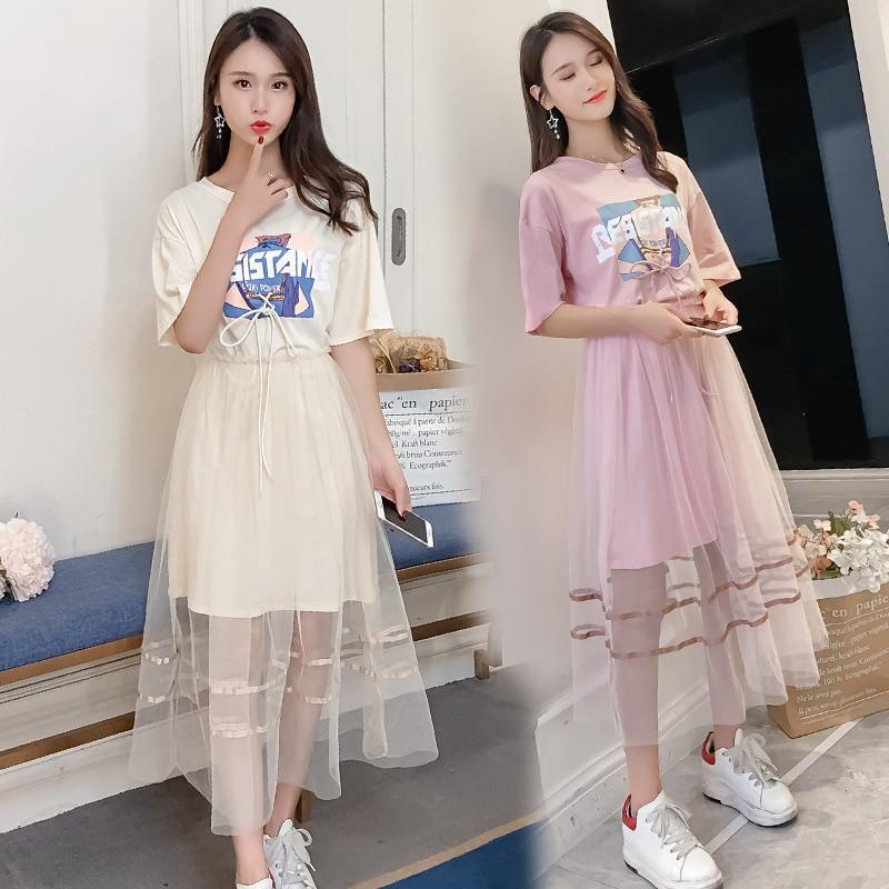 2019 Summer Wear New Style Korean-style Printed T-shirt Super Fire Mesh Dress Two-Piece Women's Fashion