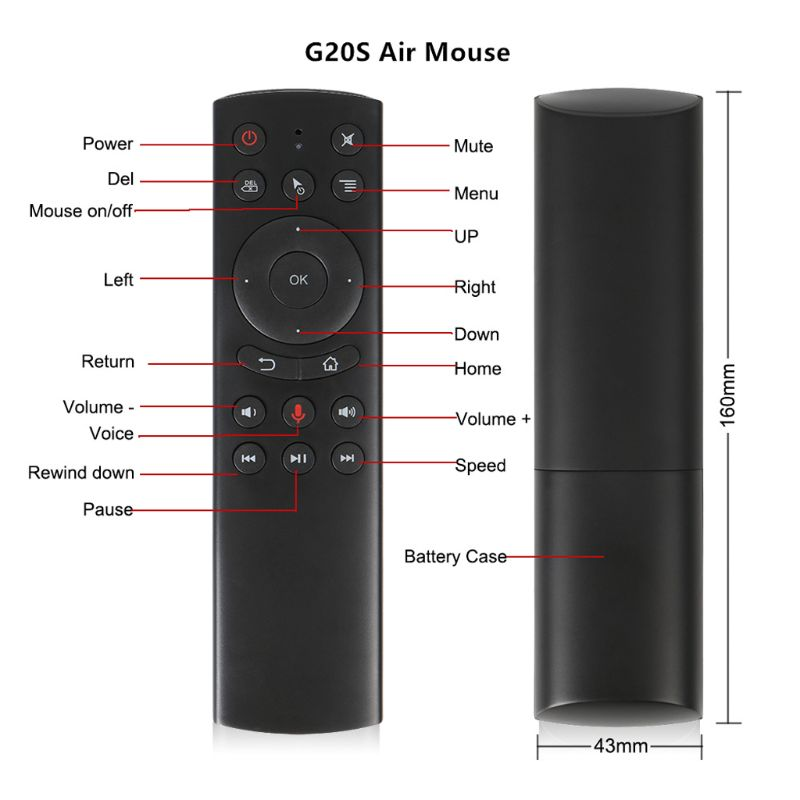 G20S Gyro Smart Voice Remote Control IR Learning 2.4G Wireless Fly Air Mouse PXPE image
