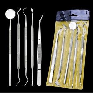 Image 1 - Amsic 5 pcs 치과 거울 스테인레스 스틸 치과 도구 세트 입 미러 치과 키트 악기 치과 선택 치과 준비 도구