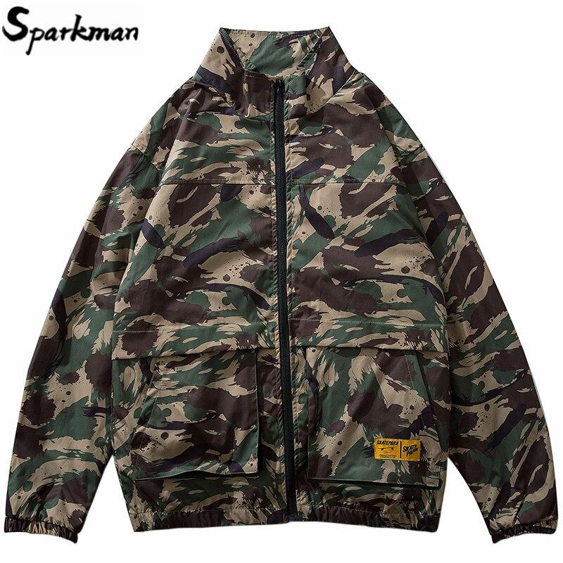 2019 hommes Hip Hop veste Streetwear Camouflage veste coupe-vent Harajuku rétro tactique militaire Camo piste vestes manteau Zipper