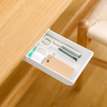 Office Multi-functional Hidden Drawer Storage-Adhesive Pencil Case Plastic Stationery Student Desk Plastic Pen Box