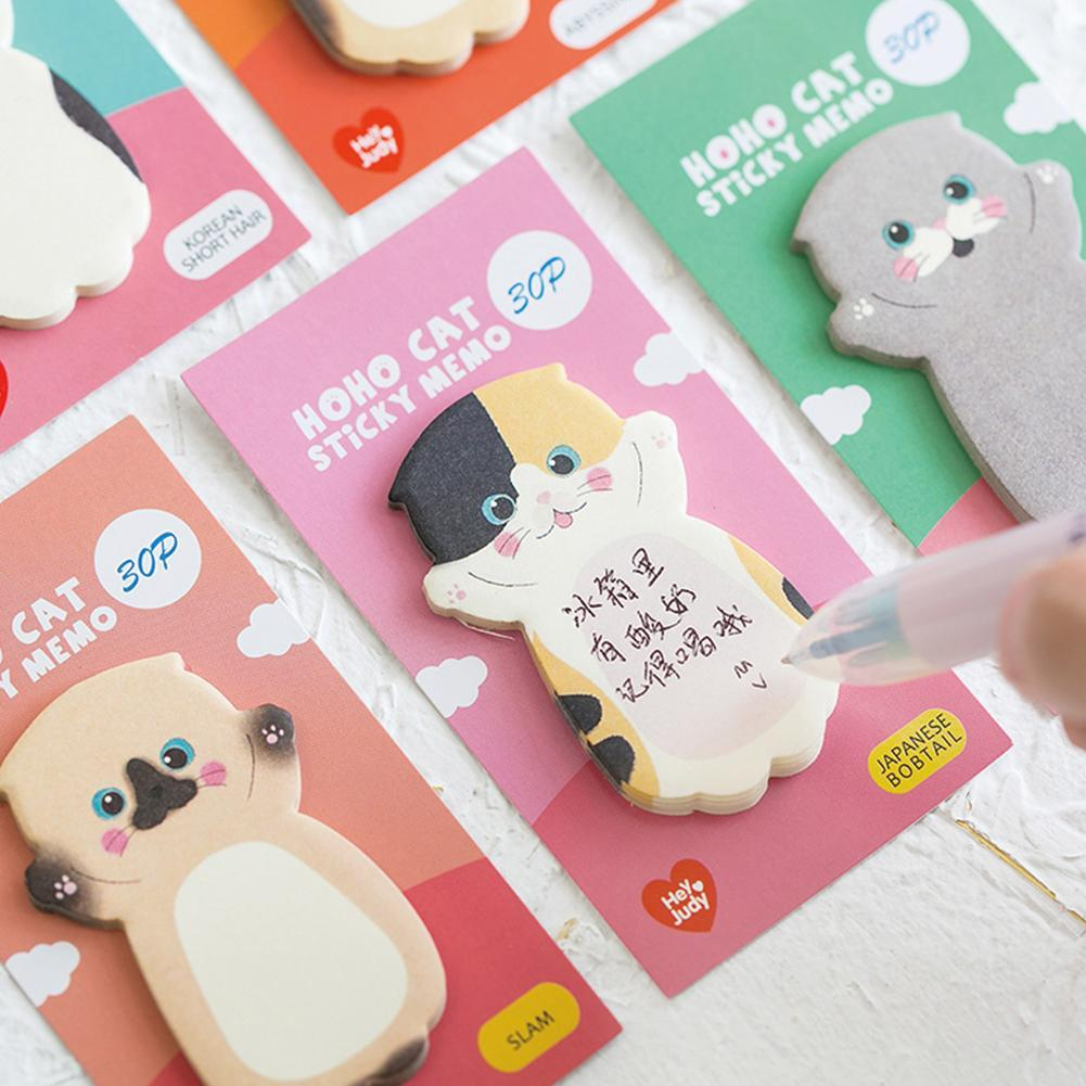 Kawaii Cat Series Sticky Note Student Message Sticker Cute Animals Memo Pads Memo Pad Scrapbooking School Label Stationery