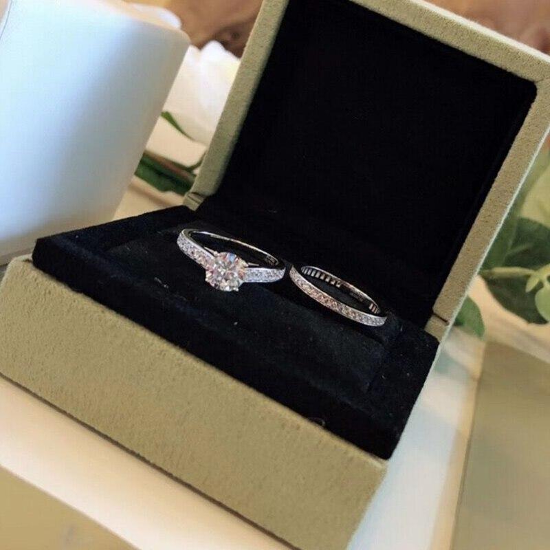 925 en argent Sterling pleine bande de diamant pile anneau femmes de luxe cristal de mariage promesse de fiançailles Couple bague ensemble S925 or blanc