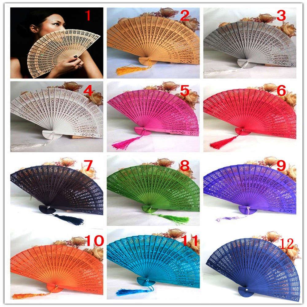 Wedding Hand Fragrant Party Carved Bamboo Folding Fan Chinese Style Wooden Hand Fan Ladies Fans Abanicos Para Boda 9.24