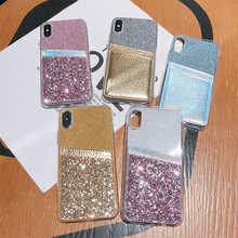 Glitter Case For iPhone 11 Case For iPhone 11 Pro Max XS Max XR X 8 7 6 6s Plus 5 5S SE 5C 4 4S Silicone Bling Card Holder Case