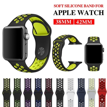 цена на Silicone Sport Strap for Apple Watch Band 44 Mm/40mm Iwatch Band 38mm 42mm Bracelet Rubber Watchband for Apple Watch 5 4 3 2 1