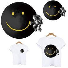 Autocollants thermo-adhésifs en fer pour vêtements Smiley planet, patchs sensibles à la chaleur, adhésifs personnalisés