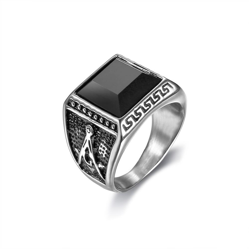Hot Sales Gemstone Masonic WOMEN'S Ring Titanium Steel Gemstone Masonic Ring Maso