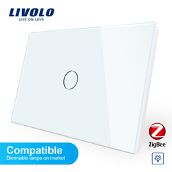 Livolo ZigBee smart wifi Wall light Adaptive dimmer switch,Crystal Glass Panel,110-250v,Compatible dimmable lamps,no logo