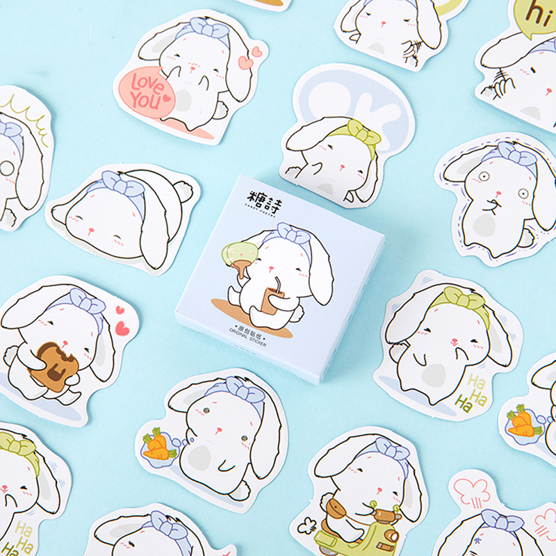 Mohamm 45sheets Kawaii Cartoon Cute White Rabbit Washi Masking Sticker Scrapbooking Girl School Supplies Stationery