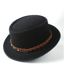 Fashion Pria Wanita Pork Pie Topi Dengan Tan Belt Gereja Jazz Trilby Topi Fascinator Topi Fedora Pesta Dansa Ukuran Hat 58CM(China)