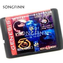 Bölge ücretsiz 16 bit MD hafıza kartı Sega Mega sürücü SEGA Genesis için Megadrive Mortal Kombat en Ultimate Fighting 5 in 1