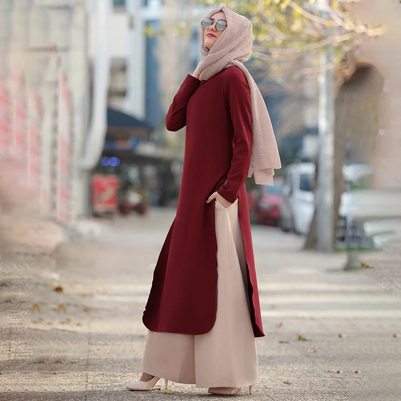 Wepbel Long Tops and Wide Leg Pants Two-Piece Set Outfits Clothes Muslim Women's Set Abaya Long Sleeve Solid Color Middle East