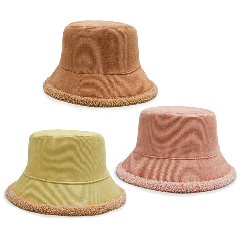 New Fashion Women Plush Hats Solid Color Autumn Winter Warm Fisherman's Hat Outdoor Casual Sun Protection Sun Hat Accessories