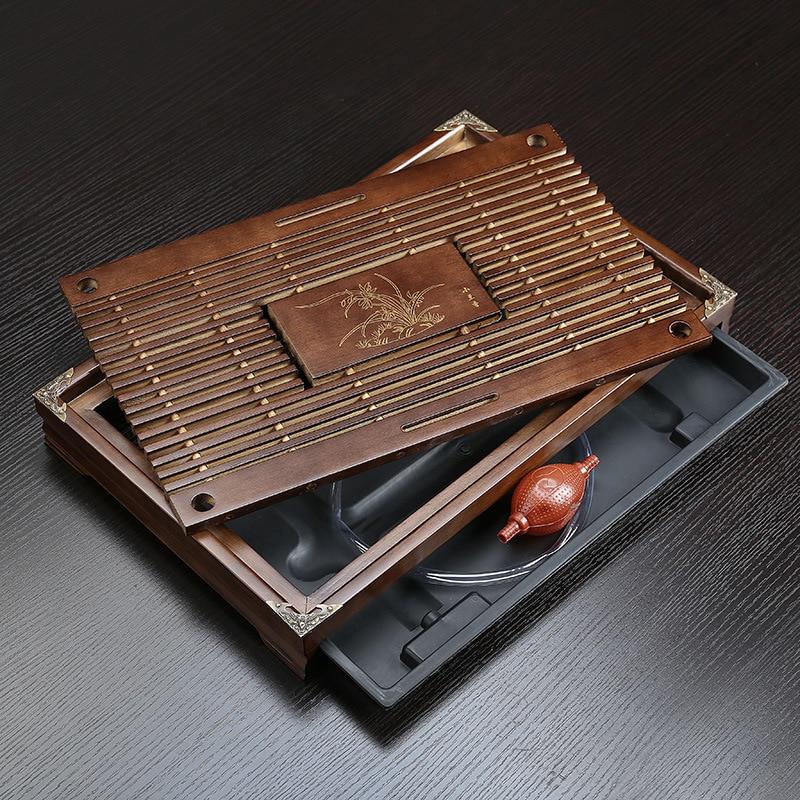 Твердая древесина Чай лоток сточных вод для хранения чайный набор кунг фу Чай набор с выдвижными ящиками Чай настольная китайская Чай церемонии Инструменты Бесплатная доставка