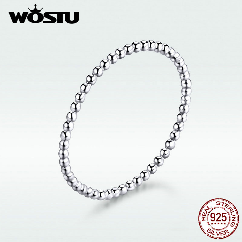 WOSTU 100% Real 925 Sterling Silver Rings 2019 New Desgin Simple & Stylish Shape Rings Hot Fashion S925 Jewelry DXR574