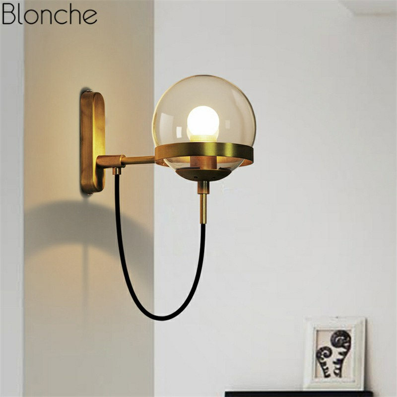 Retro Glass Ball Wall Lamp Vintage Wall Sconce Light Gold Black Fixtures For Living Room Bathroom Loft Home Decor E27 Lighting Led Indoor Wall Lamps Aliexpress
