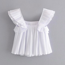 2020 Summer Women Pleated Blouses Shirts Tops Solid White Ca