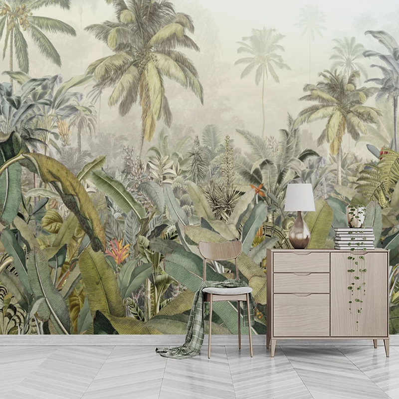 Custom Mural Wallpaper 3D Hand-painted Tropical Rainforest Plant Leaves Wall Painting Living Room Bedroom Home Decor Wall Papers
