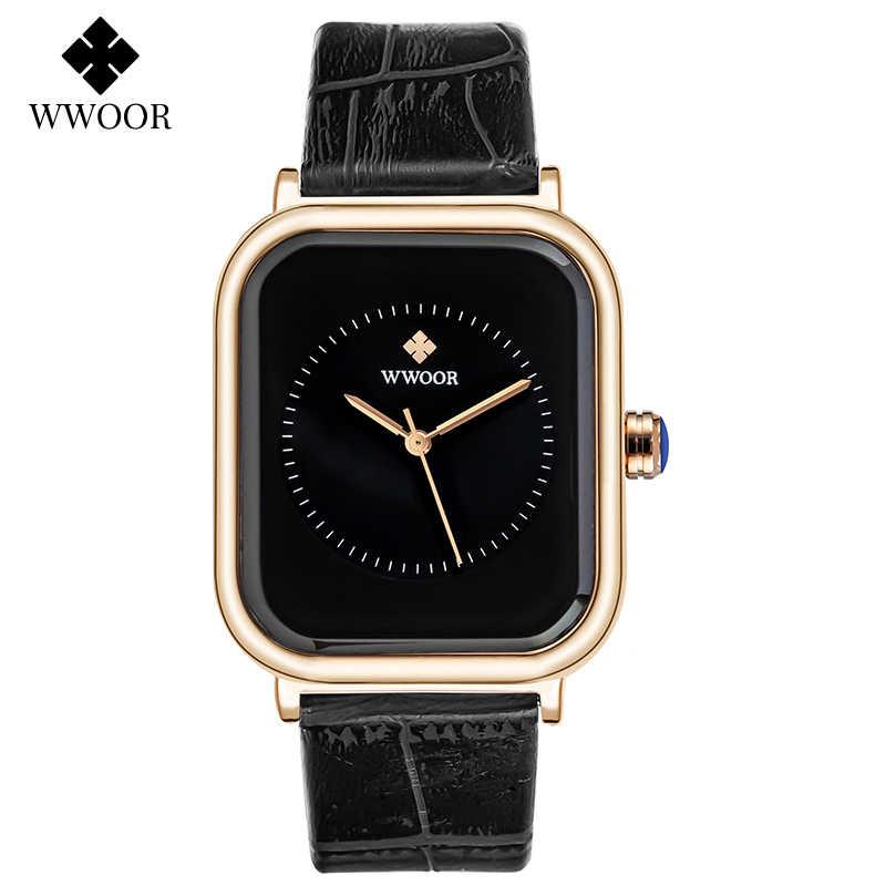ผู้หญิงสแควร์นาฬิกาสตรี 2020 WWOORแบรนด์หรูแฟชั่นผู้หญิงนาฬิกาหนังสีดำนาฬิกาผู้หญิงนาฬิกา