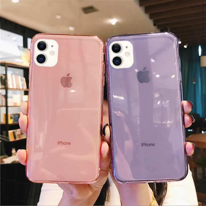 Lovebay Solid Color Clear Phone Case For IPhone 11 7 8 6 6s Plus X XR XS 11Pro Max Transparent Candy Soft TPU Back Cover Fundas