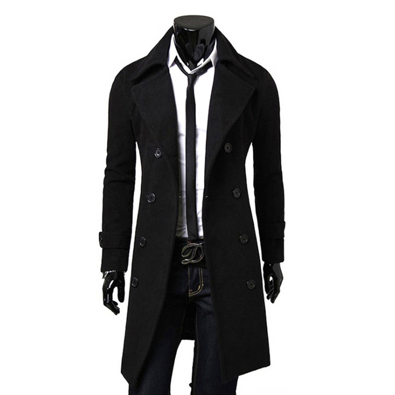 Mens Clothes Winter Jackets and Coats Casual Solid Double Breasted Slim Male Long   Trench   Coats England Style Gentleman Overcoat