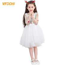 VFOCHI New Girl Princesses Dresses Summer Teenager Girls Clothes Elegant Baby Kids for 3-12Y Lace tutu