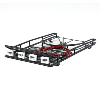 Roof Rack Luggage Carrier with 4 LED Light Bar for 1/10 RC Car Monster Truck Crawler SUV TAMIYA CC01 CR01 AXIAL SCX10 Model Car image