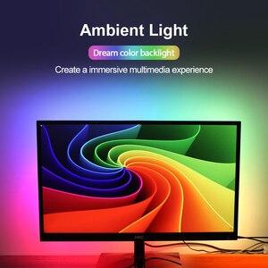 Image 2 - Dream color TV Backlight USB LED Strip RGB 5050 WS2812B LED Lights 5V for HDTV PC Screen Background Bias Lighting 1M 2M 3M 4M 5M