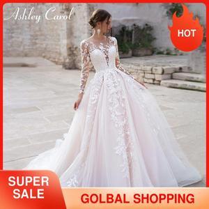 Image 1 - Ashley Carol Long Sleeve Princess Wedding Dress 2020 Tulle Bride Dresses Chapel Train Appliques Bridal Gowns Vestido De Noiva