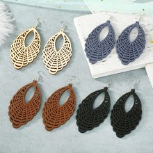 Vintage Carved Openwork Wood Earrings Geometric Statement Design Water Drop Dangle Earrings Women Fashion Trend Ethnic Jewelry(China)