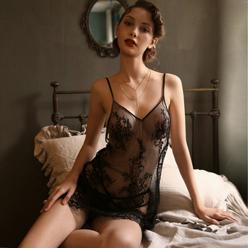 Woman's sexy suspender nightdress perspective lace embroidery sexy temptation nightdress sexy lady with perspective sleepwear кардиган perspective perspective mp002xw0dc5p