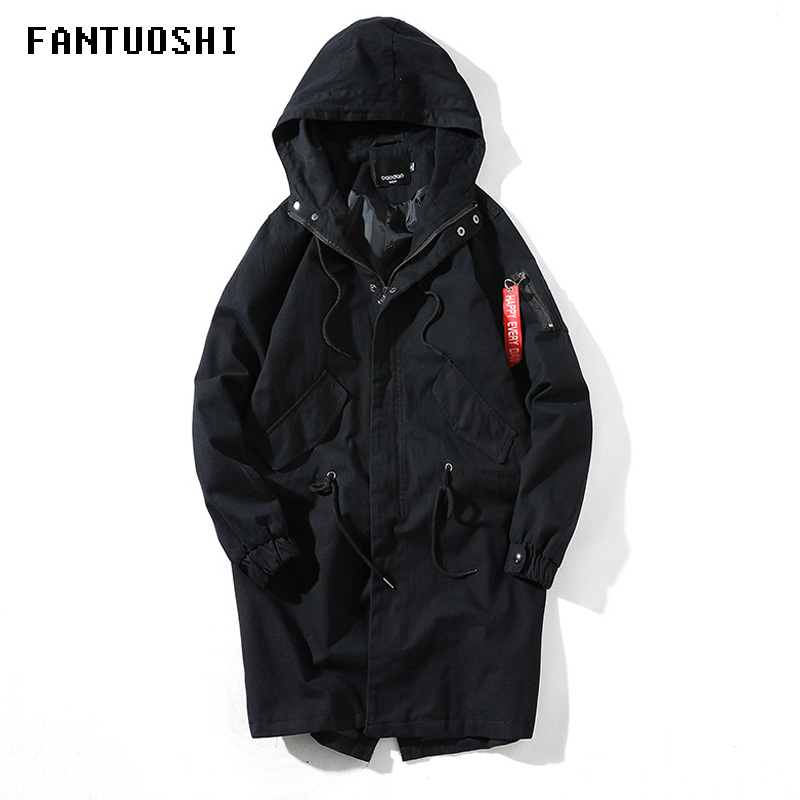 Jacket Men 2019 Spring And Autumn New Long Windbreaker Overcoat Fashion Casual Slim Cotton Hooded Solid Color Coat Plus Size 5XL