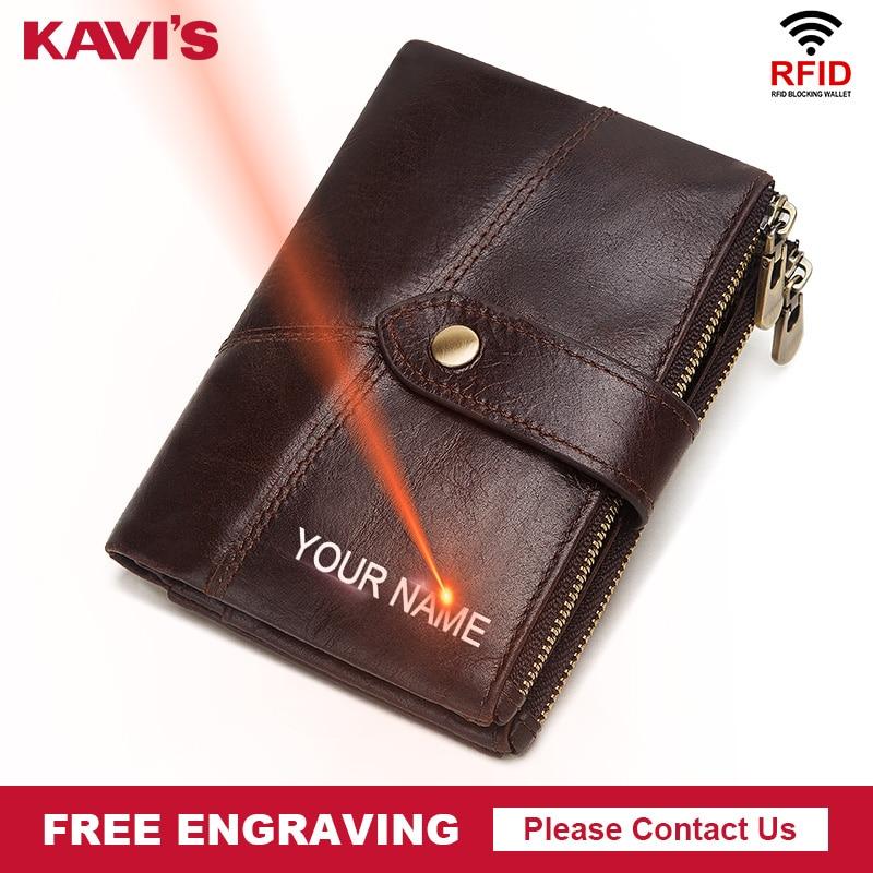 KAVIS RFID Free Engraving Rfid 100% Genuine Leather Wallet Men Crazy Horse Wallets Coin Purse Short Male Money Bag Mini Walet