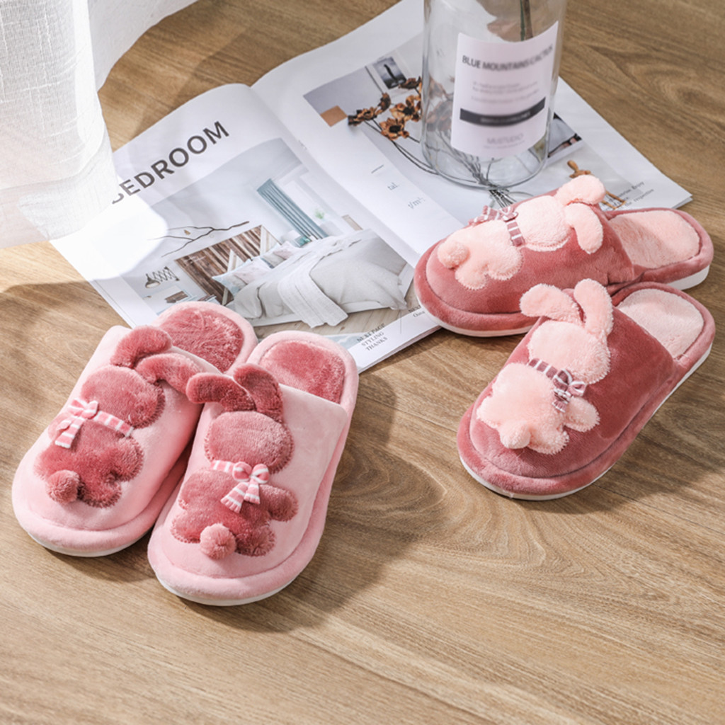 Quality Kids Girl Slippers Couples Cartoon Rabbit Warm Non-slip Floor Home Slippers Baby Winter Indoor Shoes Chinelo Masculino