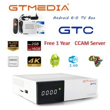 GTMEDIA GTC 4K tv Box z androidem Receptor DVB-C kabel Youtube DVB-S2 DVB-T2 Bluetooth 4.0 odbiornik satelitarny Ccam Cline Biss VU Box(China)
