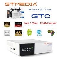 Gtmedia gtc 4 k android tv caixa receptor DVB-C cabo youtube DVB-S2 DVB-T2 bluetooth 4.0 receptor de satélite ccam cline biss vu caixa