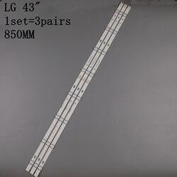 Novo kit 3 pçs 8leds 850mm led backlight strip para lg 43lh604v 43lh60_fhd_a tipo uf64_uhd_a 43uh610v 43uf640 43uh610a 43lh5700